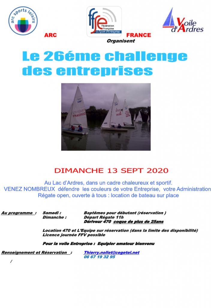 Affiche de la régate corpo 2020 du club de voile d'Ardres
